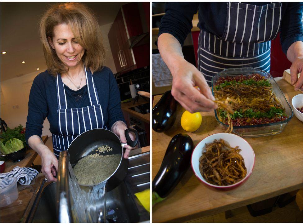 Majeda preparing harra esbou, made with lentils, pasta, tamarind, pomegranate, onions and garlic