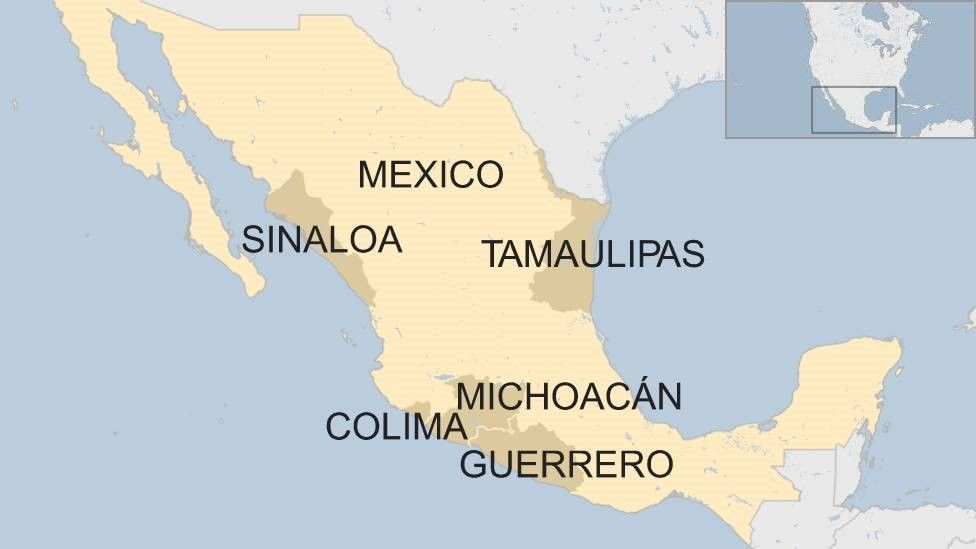 Map of Mexico with the five states mentioned highlighted