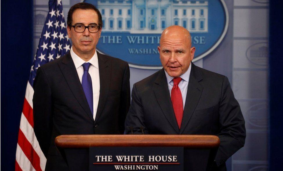 U.S. Treasury Secretary Steven Mnuchin (L) and National Security Advisor H.R. McMaster address sanctions on Venezuelan President Nicolas Maduro during the daily press briefing at the White House in Washington, U.S., July 31, 2017.