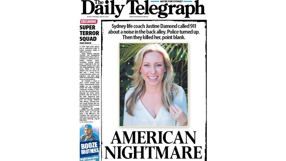 """Sydney's Daily Telegraph newspaper front page carries the headline: """"American nightmare"""""""