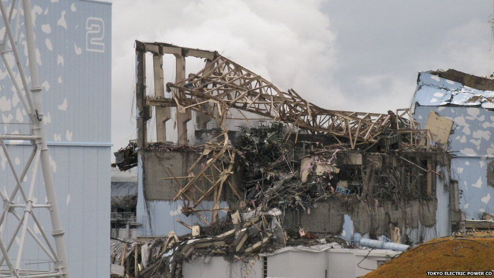 Scene after explosion at the Fukushima Daiichi plant. March 2011