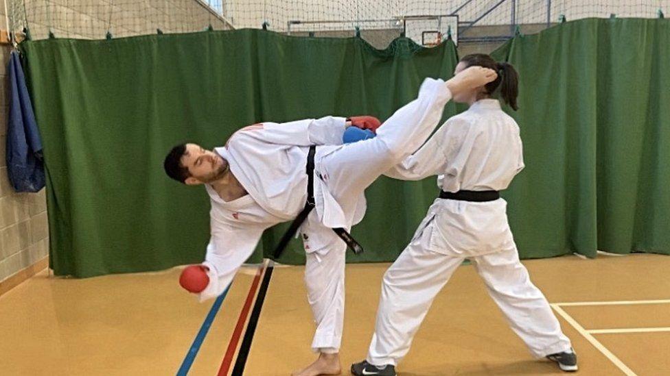 Karate training class