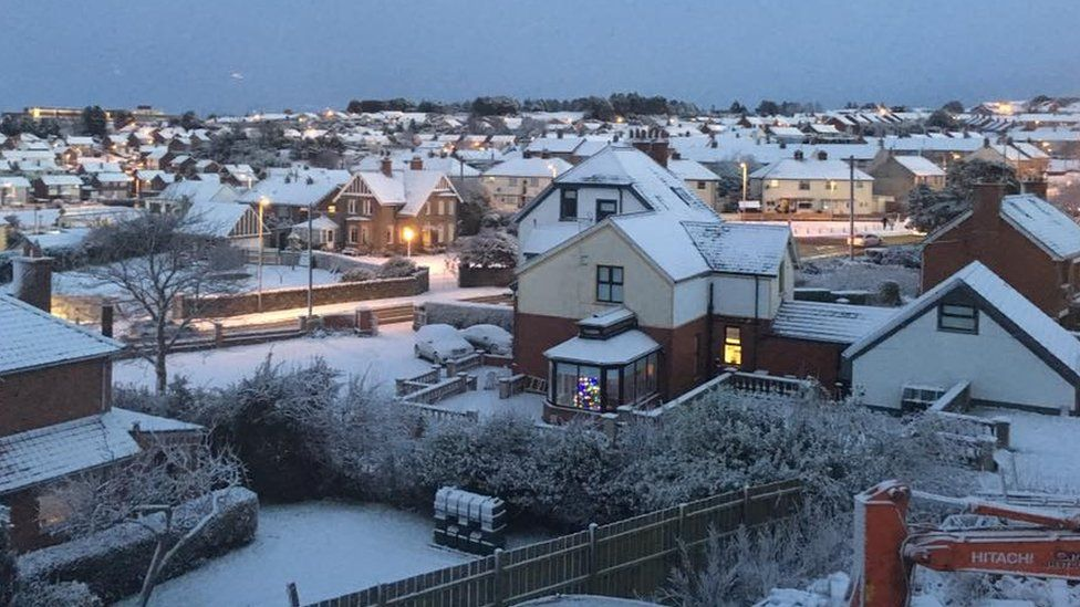 Downpatrick in County Down woke up to a covering of the white stuff