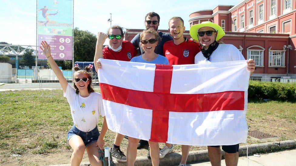 England fans in Rome ahead of watching the England v Ukraine, UEFA Euro 2020 Quarter Final match, which will take place at the Stadio Olimpico, Rome