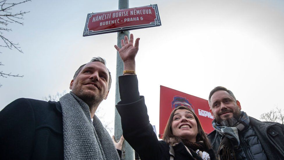 Zdenek Hrib, left, appeared with Boris Nemtsov's daughter at the event to officially rename the square