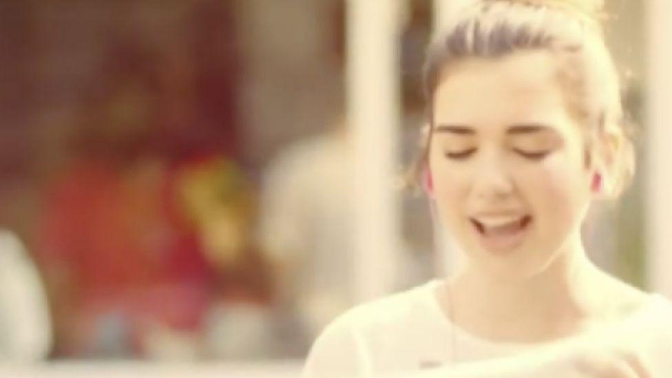Dua Lipa in her X Factor advert