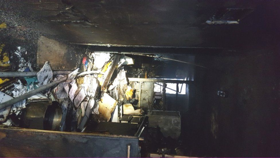 The interior of the burnt apartment