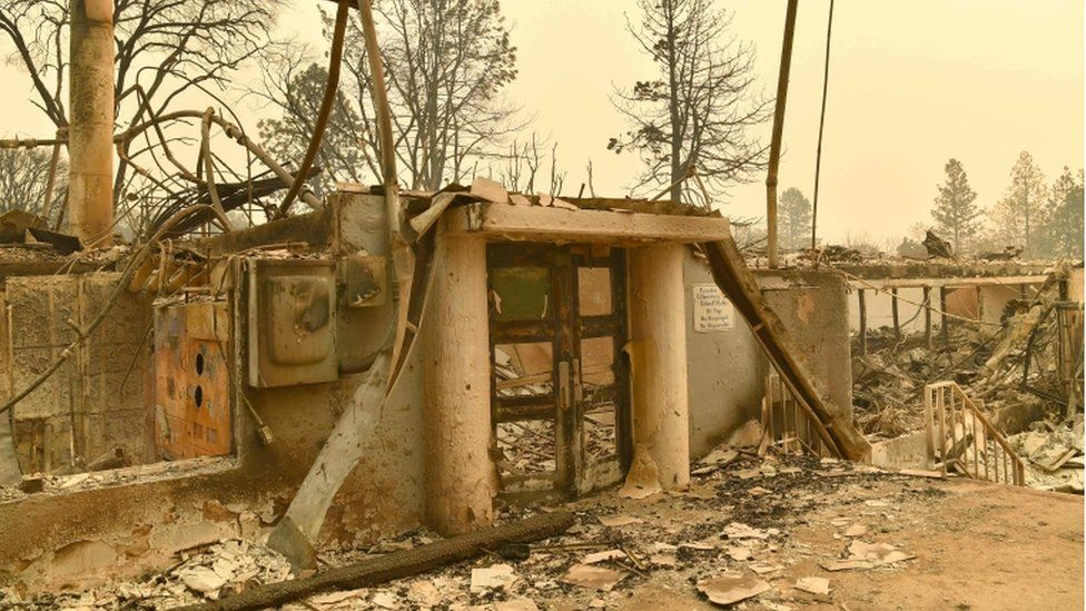 Burned out shell of school entrance