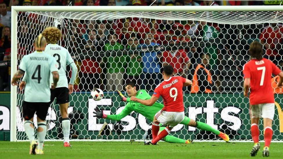 Wales striker Hal Robson-Kanu scores against Belgium in the quarter-finals of Euro 2016