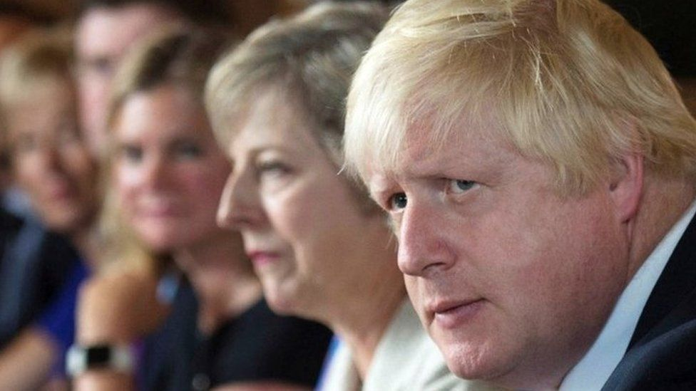 Justine Greening, Theresa May, and Boris Johnson