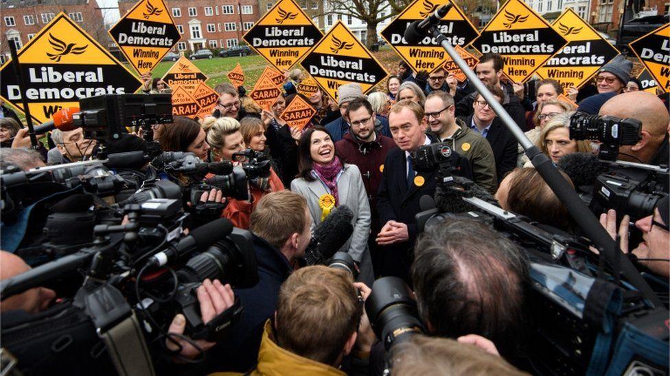 Sarah Olney, Tim Farron and Lib Dem supporters