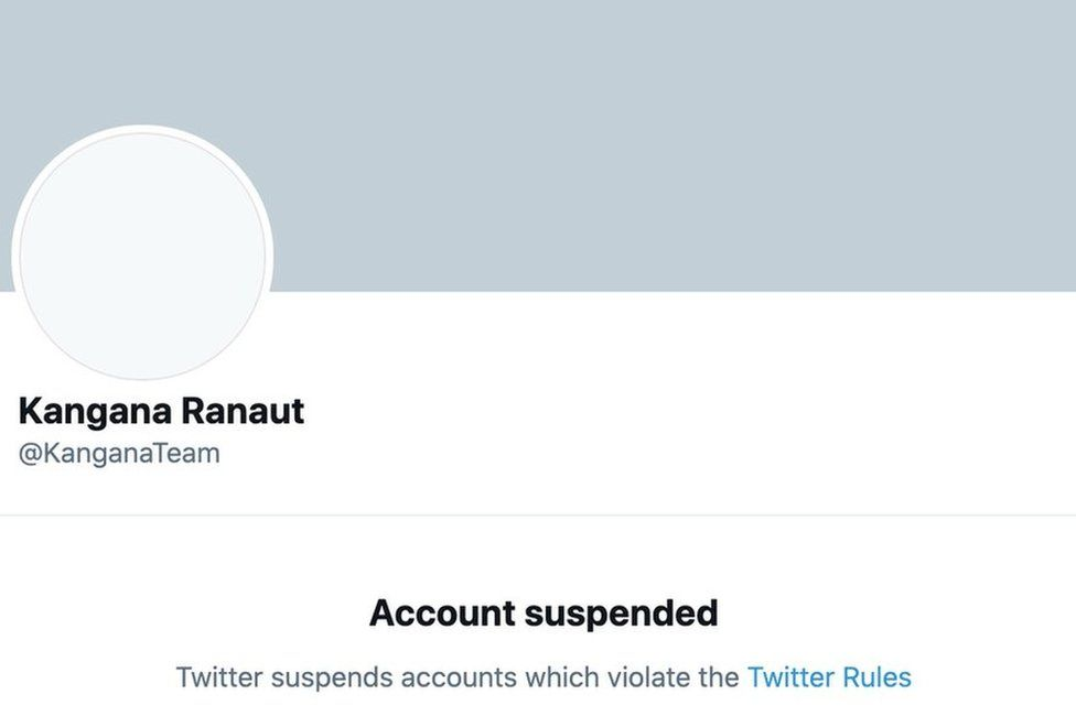 Ranaut's suspended Twitter account