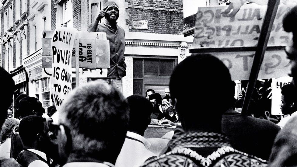 Civil rights activist Darcus Howe at a Black Power protest in London