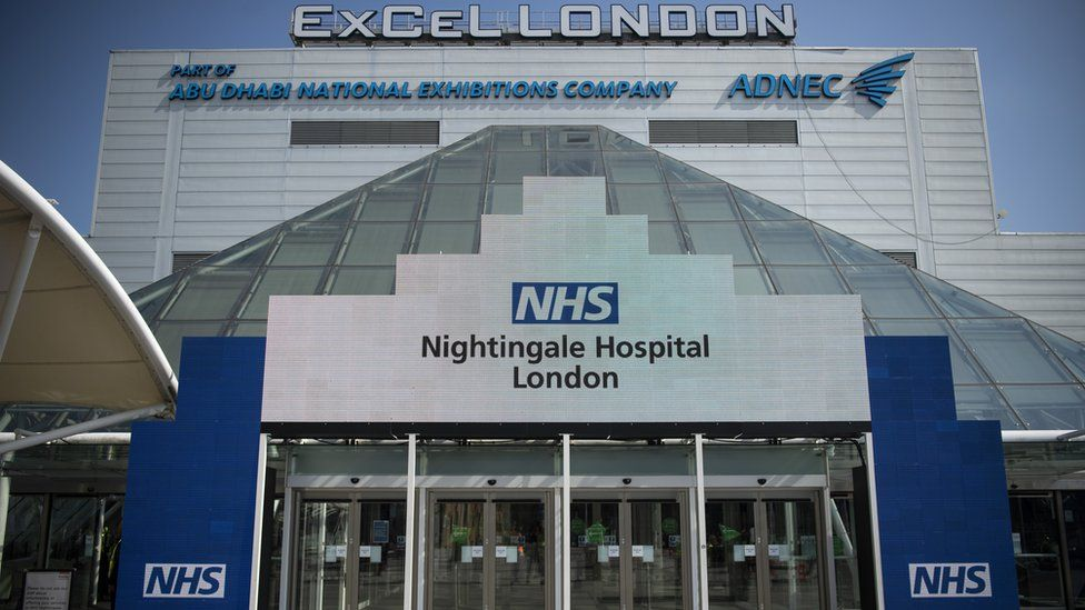 A general view of the Excel NHS Nightingale Hospital in East London