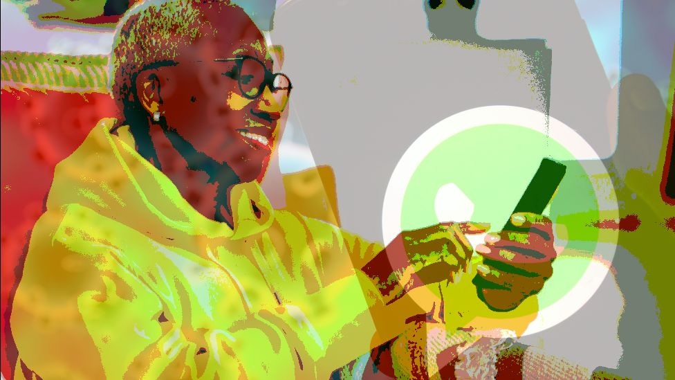 A composite image of woman looking at a phone with a WhatsApp logo on a phone
