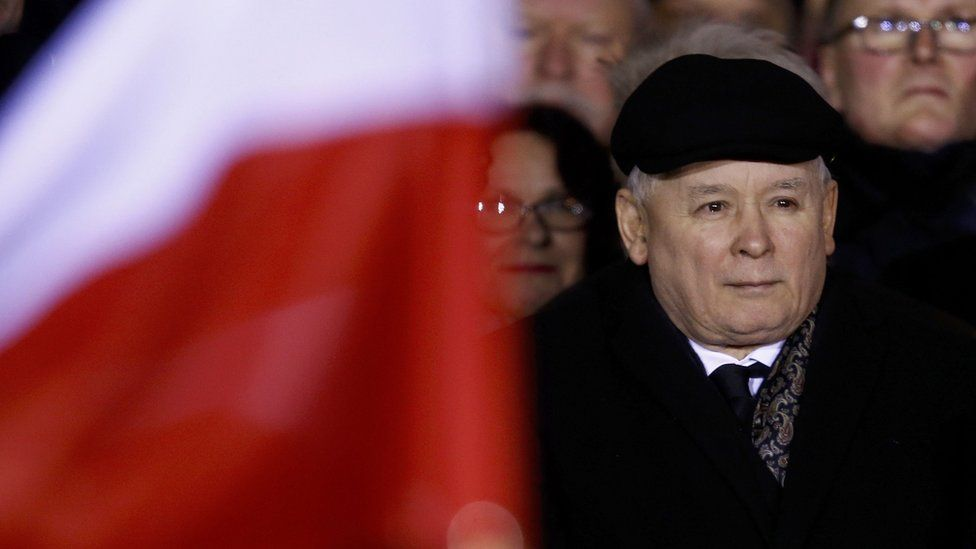 Jaroslaw Kaczynski attends a pro-government demonstration to mark the 35th anniversary of the marshal law in Warsaw (13 December)