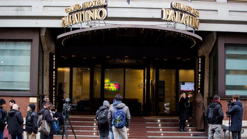 Hotel Palatino front in Milan