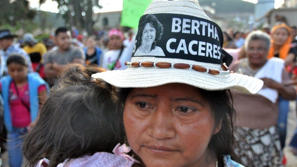 Ethnic groups and organizations march during a peaceful protest against the murder of Berta Caceres, Honduran environmental activist and indigenous leader of the Lenca people, in La Esperanza, Honduras, 04 March 2016