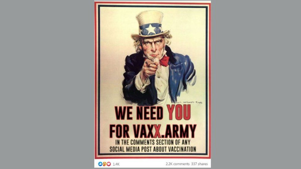"""Pro-vaccination meme pastiche of Uncle Sam recruiting poster with the slogan """"We need you for vaxx army in the comments section of any social media post about vaccination."""""""