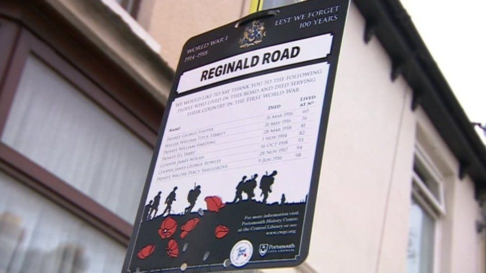 Armistice Day boards in Portsmouth