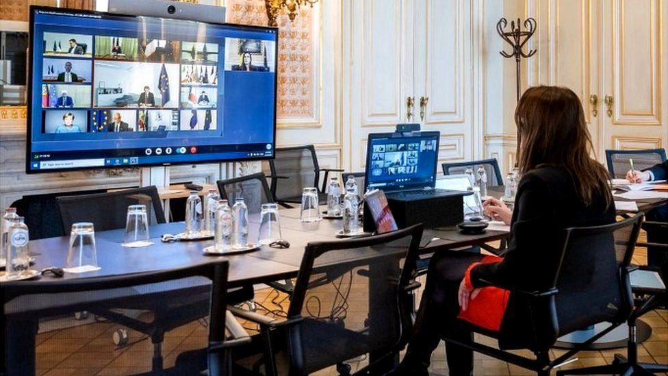 Belgian Prime Minister Sophie Wilmès takes part in the EU leaders' meeting