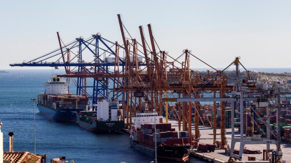 A view of COSCO owned dock and yard in Piraeus