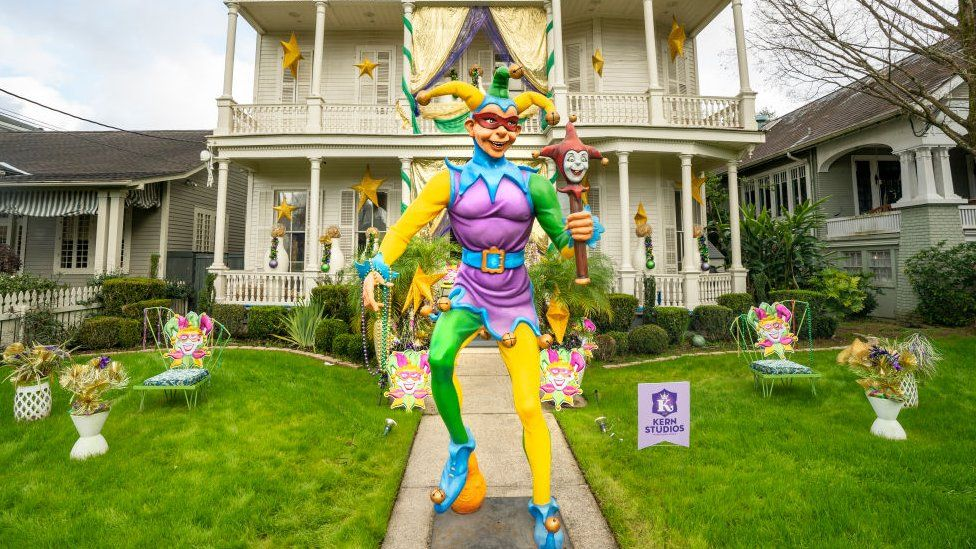 Home decorated with a Mardi Gras jester in New Orleans on 24 January 2021