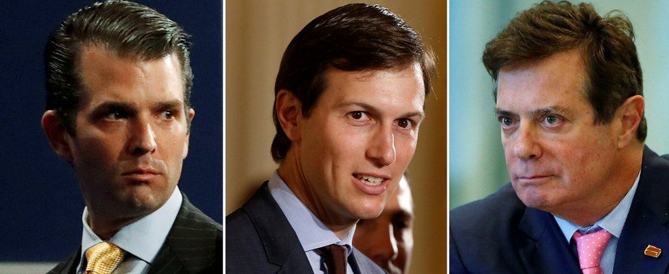 Donald Trump Jr. from July 11, 2017, Jared Kushner from June 6, 2017 and Paul Manafort from 17 august 2016