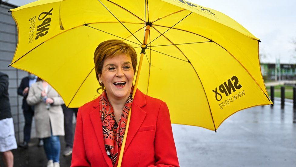 First Minister Nicola Sturgeon poses for a photograph outside Glasgow counting centre