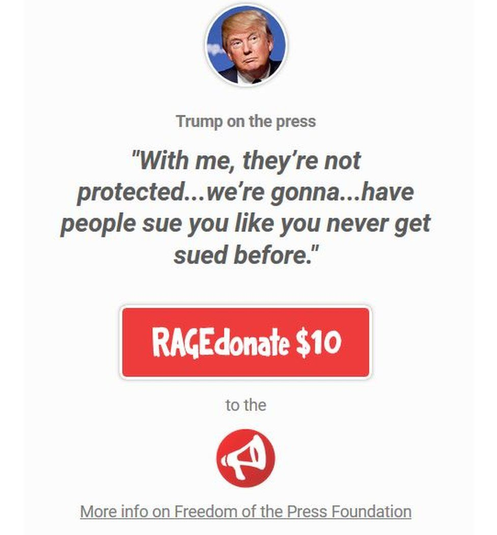 The website asks people to donate to the Press Freedom Foundation if they disagree with Trump's statement