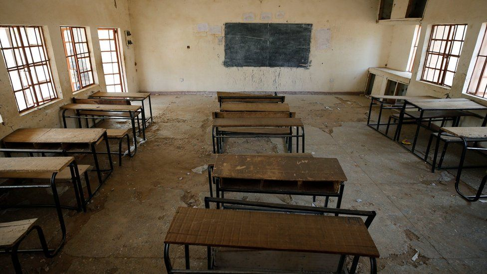 A view shows an empty classroom at the school in Dapchi in the northeastern state of Yobe, where dozens of school girls went missing after an attack on the village by Boko Haram, Nigeria February 23, 2018