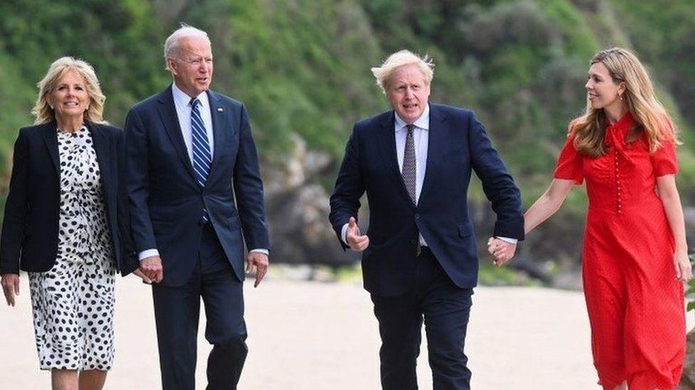 Jill and Joe Biden, Boris and Carrie Johnson