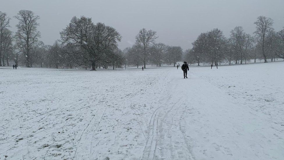 Christchurch Park, Ipswich, in the snow