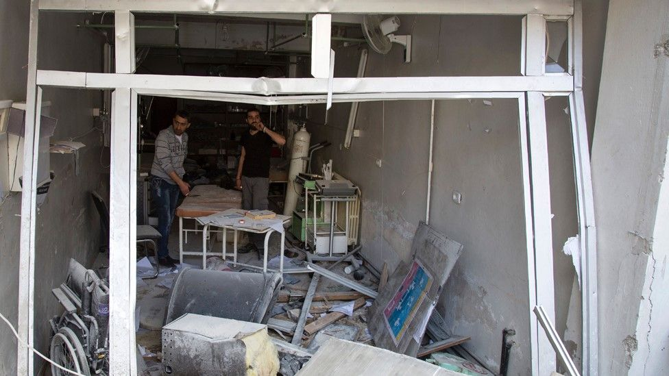 File photo from 28 April 2016 showing damaged Al-Quds hospital building following reported air strikes in rebel-held Aleppo, Syria