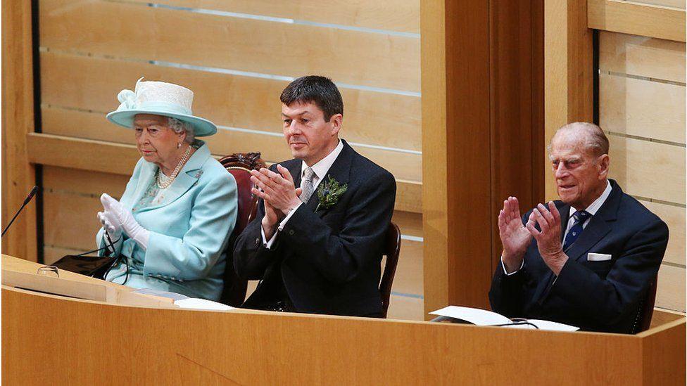 The Queen, Ken Macintosh and Prince Philip