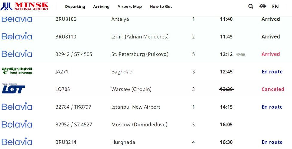 Arrivals board in Minsk