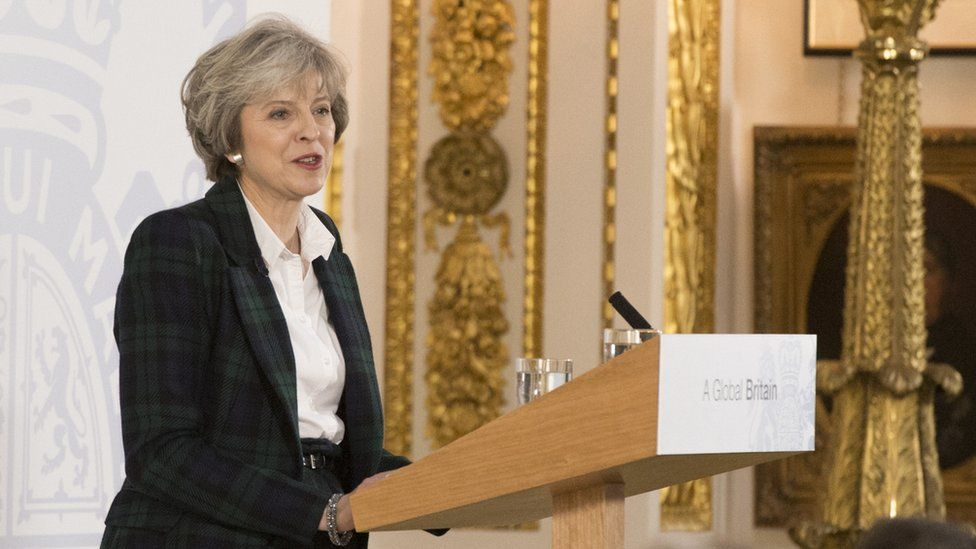 Theresa May speaking at Lancaster House in 2017