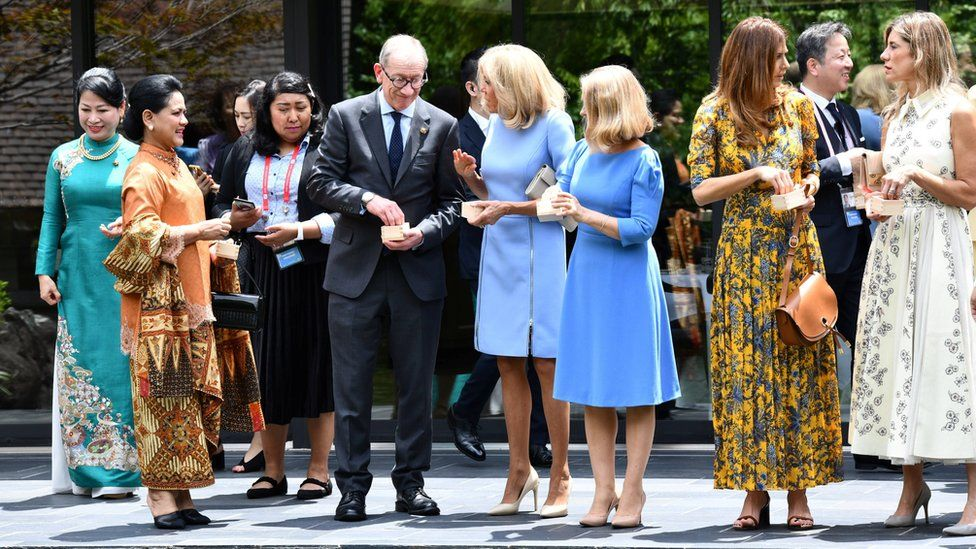 Philip May with leaders' wives during a G20 meeting in Osaka, Japan