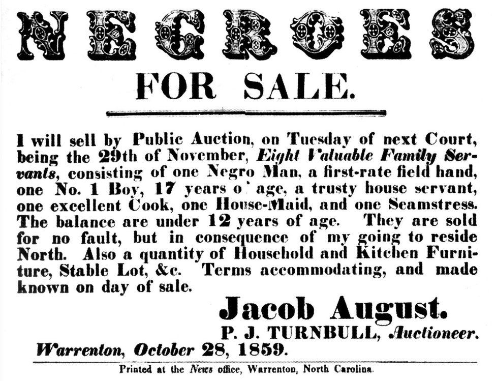 Flyer announcing a slave sale 1859 United States