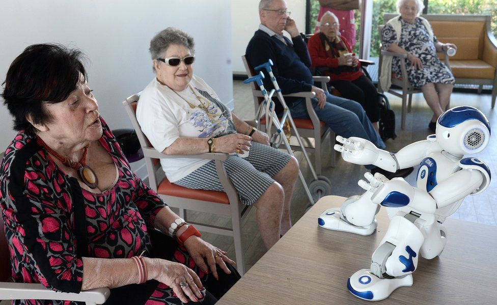 A humanoid robot at a care home