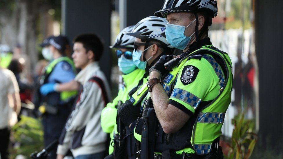 Police at a Black Lives Matter protest