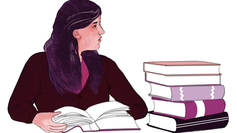 Illustration depicting Duaa with her books