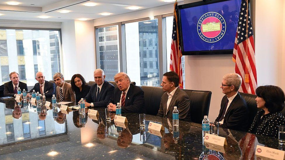 A number of tech leaders met with Donald Trump before his inauguration.