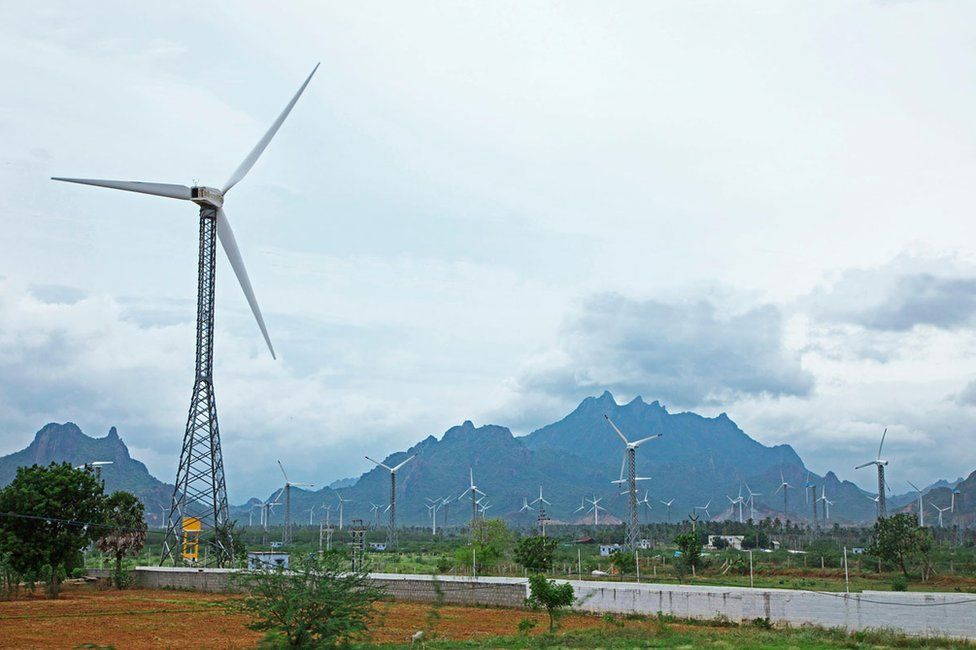 A wind turbine in Kanyakumari