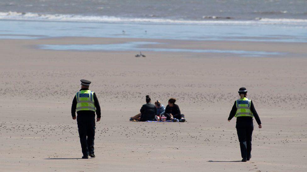 Police on Barry Island beach