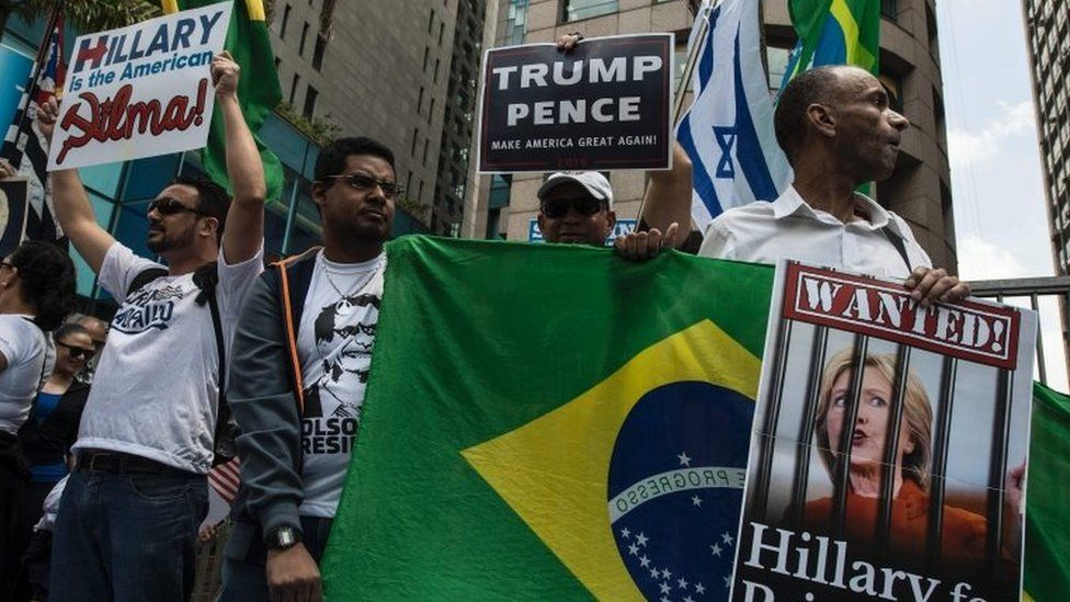Supporters of US presidential candidate Donald Trump rally in Sao Paulo, Brazil on October 29, 2016