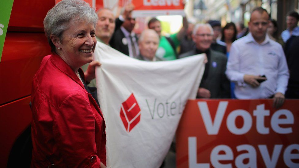 Gisela Stuart campaigning for Vote Leave in 2016
