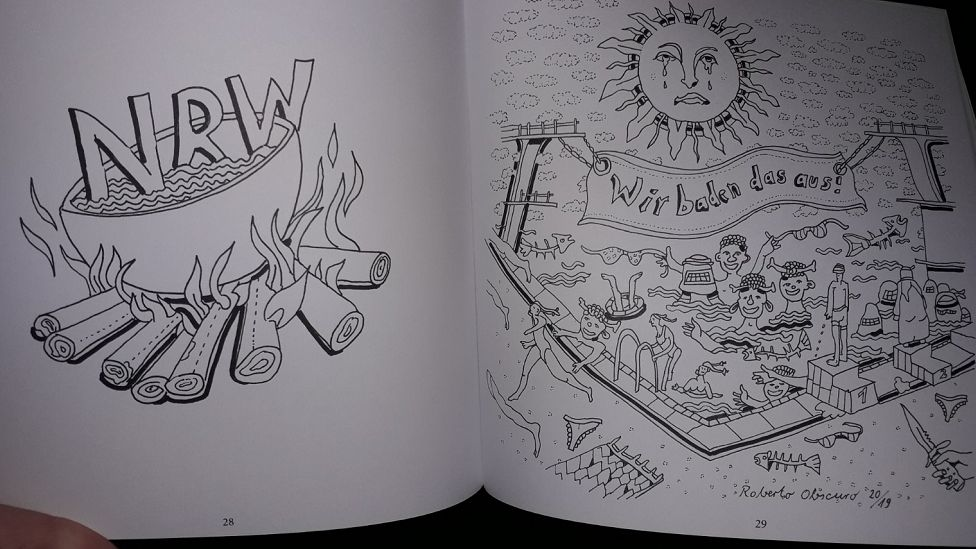 A page of a colouring book that was handed out at an AfD event in western Germany