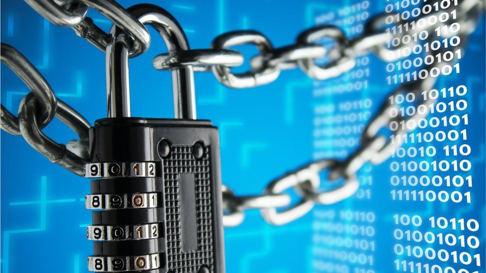 Padlock and binary code