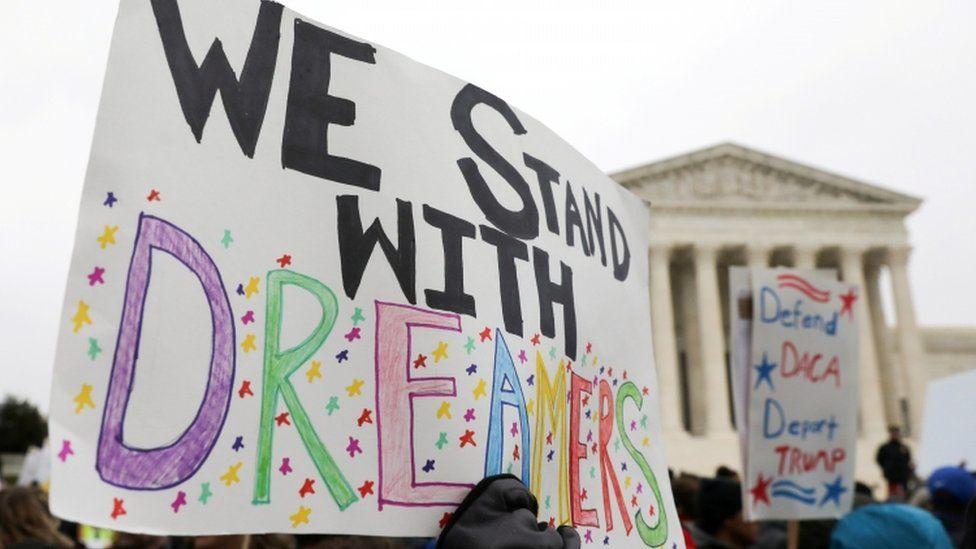 Daca demonstrators rally outside the US Supreme Court